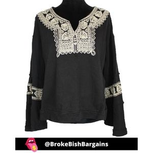 Free People Santa Maria Embroidered Sweater XS
